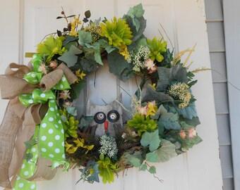 burlap grapevine wreath silk flowers vines door wreath , home decor handmade colorfull , outdoor garden  indoor owl   burlap owl wreath
