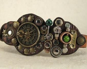 452 Steampunk Sundial Burning Man Boho Industrial Bracelet