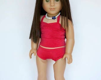 American Girl doll sized 2 piece tankini swimsuit - red