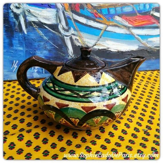 Mid- Century Saint Jean de Bretagne Teapot Hand Painted French Folk Pottery Aladdin Lamp Shape Rare 3060 Pattern #sophieladydeparis
