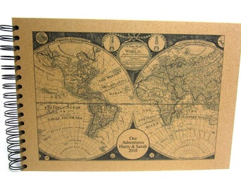 Personalised Map Scrapbook A5 A4 Travel Journal, Photo Album, Guestbook, Gift