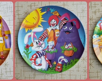 McDonald's Plates 1990's Plastic Collectible Set of 3 Three Ronald McDonald Grimace Birdie