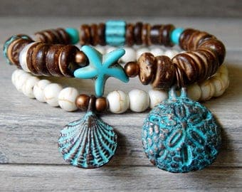 Sea Bracelet, Ocean Bracelet, Starfish Bracelet, Beach Bracelet, Shell Bracelet, Blue Bracelet, Beaded Beach Jewelry, Boho Beach