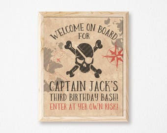 Pirate Welcome Sign // Personalized Printable Old Paper Pirate Bash Welcome Sign // Pirate Sign // Pirate Party // Pirate Bash