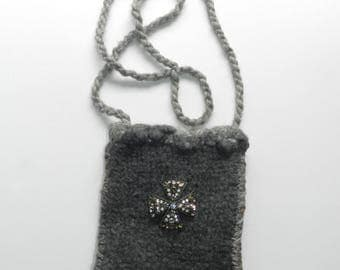 Grey Silver and Gold Hand Knit and Felted Shoulder Bag Purse - Celtic Cross