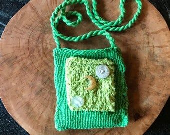 Hand Knit Green Cotton Shoulder Bag - Man in The Moon