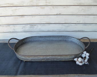 Large Galvanized Oval SERVING TRAY with Handles Centerpiece  Industrial Urban Farmhouse Rustic Fixer Upper Home Decor