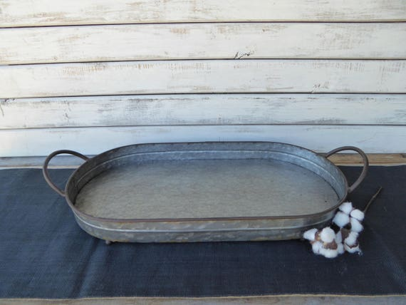 Large Galvanized Oval Serving Tray With Handles Centerpiece