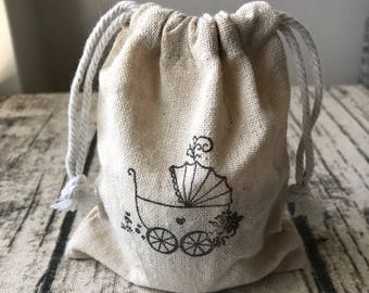 12x Vintage Baby Carriage Linen Bags • Baby Shower Favour Bags • Thank You Gift Bags 11x13cm