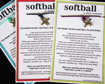 15 Softball Wish Bracelets ... You Know You're a Softball Player When ... Great for Gifts, Team Spirit, Birthday Favors and More!