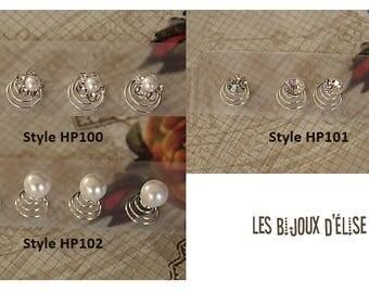 Set of 12 pcs Bridal Hair Pins Faux Pearls or Rhinestone Flower Hair Pins Bridesmaid Twist Coil Spiral Hairpins(HP100-HP101-H102)