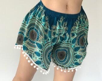 PP0121 Pom pom Shorts Beach Summer pants Freshy pants Fashion short Chic Clothing Aztec Ethnic Bohemian Ikat Boxers Short Pants Unique