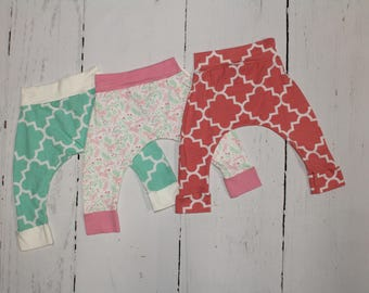 6-12 Month Harem Pants, Baby and Kids Harem Pant Leggings, Quatrefoil, Aqua, Pink, Unicorns, Florals