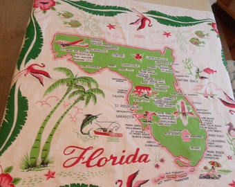 Florida state tablecloth / vintage souvenir/  flamingo, attractions in green pink