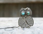 Barn Owl Sterling Necklace . Vintage Turquoise . Rustic . Earthy . Boho .