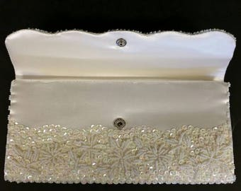 Vintage Beaded Clutch, Antique Beaded Clucth, Antique Wedding Clutch, Vintage Wedding Clutch
