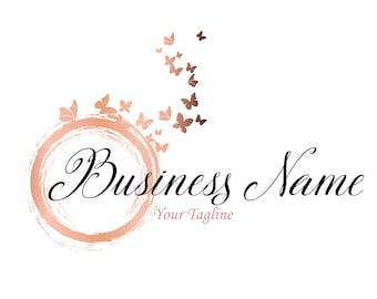 DIGITAL Custom logo design, butterfly pink gold logo, butterfly logo, coral peach logo, feminine elegant logo, pink gold logo, graphic logo