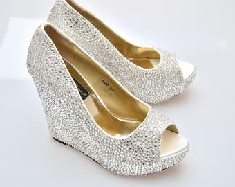 Custom Silver swarovski crystal wedding bridal high Heel Peeptoe platform Wedge