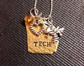 Georgia Tech State Necklace, Yellow Jackets, Brass, Gold, Heart