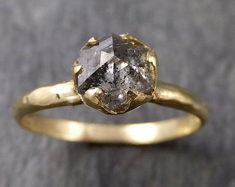 Fancy cut salt and pepper Diamond Solitaire Engagement 18k yellow Gold Wedding Ring Diamond Ring byAngeline 1052