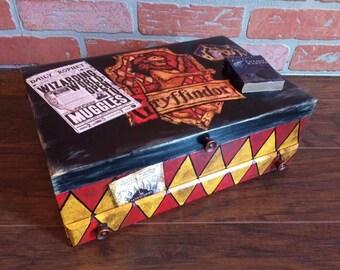Harry Potter Fan art Upcycled Vintage Jewelry Box Hogwarts Trunk