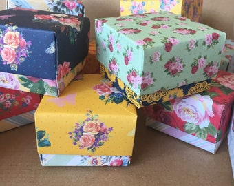 12 origami favour boxes floral tea party