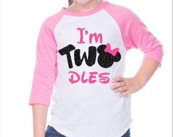 I'm TWOdless Minnie head 2nd Birthday tee or tank top Two Second Bday Party T Shirt - Custom Color
