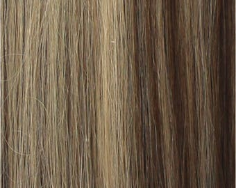 """Miss Flirty Remy Hair Extensions Clip-In 22"""" Long Dark Ash Blonde, Pale Blonde Mix #5A/24"""