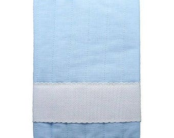 Protection-health records in linen and cotton Blue Cross-stitch birth