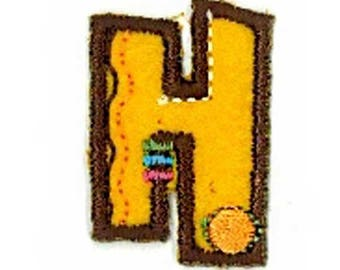 Fusible embroidered alphabet letter H sold individually
