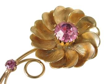 Vintage Flower Brooch Pinwheel Brooch Pink Stone Brooch Pink Rhinestone Brooch Mid Century Brooch Gold Flower Brooch Pink Flower Pin