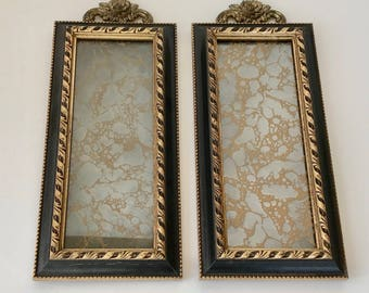 """Vintage 14"""" Wall Mirrors A Riba Set 2 Distressed Renaissance Framed Ornate Brass Rose Accent"""