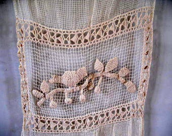 Pair of antique French crochet filet curtains ochre  124cm x 56cm - 85 euro