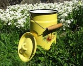 Enamel Can, Milk Pail, Yellow Enamelware, Outdoor Cooking Picnic Dish, Lidded Large Canister, Planter, Wood Handle, Farmhouse Kitchen