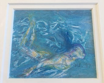 HANNAH LOESSER Mixed Media Drawing - Titled DIVE - 1997