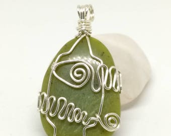 Wire Wrapped Serpentine stone pendant