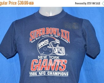 ON SALE 80s New York Giants Super Bowl XXI t-shirt Youth Large
