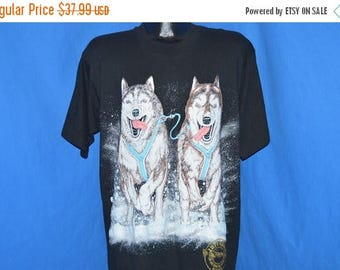 XMAS in JULY SALE 90s Iditarod Alaska Sled Dog Race Puffy Paint t-shirt Large