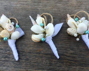 Shell Boutonniere, Beach Wedding Boutonniere, Grooms Boutonniere