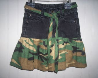 Recycled Faded Glory Jeans Size Girls 5 Slim NOW Skirt With Camo