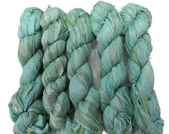 SALE New! 50g Recycled Sari Silk Ribbon, 25-28 yards , color Seafoam