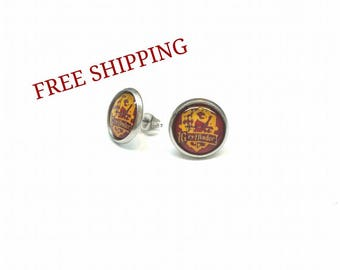 Harry Potter Gryffindor, earrings, stainless steel, yellow,red, Paradis des Bijoux,quebec, canada