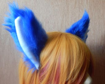 CLEARANCE Blue and White Cat Fox Wolf Ears Headband Clip On Cosplay