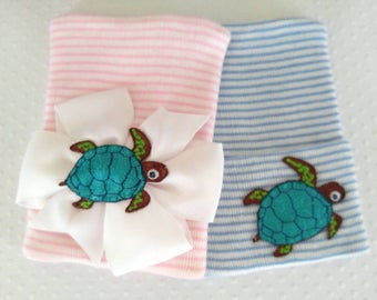 Newborn Turtle Hospital Hat - baby girl turtle, baby boy turtle, newborn Hawaiian turtle