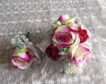 Wrist Corsage Roses Red and Cream Prom Crystal Accents