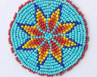2 . 5 inch STAR BLUE Beaded Rosette