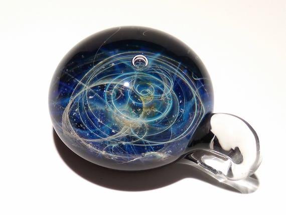Blown Glass Pendant - Blue Stars Space Scene - Neurology Gift - Trending Now Art - Science Jewelry - Best Seller -Necklace -Neuroscience