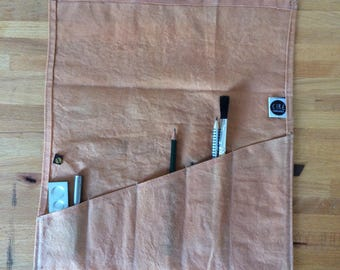 Pink Tool Roll made with waxed canvas and leather - dyed naturally with avocados , craft tool roll