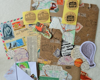 Travel Theme Snail Mail Paper Ephemera Pack, Collage Pack