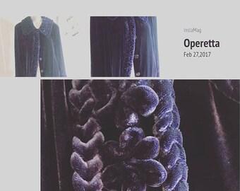 50% OFF SALE Vintage Velvet Opera Coat / Vintage Evening Coat / Purple Velvet Coat / Long velvet coat / Aria A designer